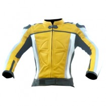 Motorbike Racing Leather Jacket Yellow
